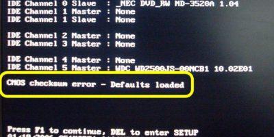 Что значит ошибка cmos checksum bad?