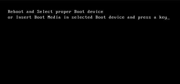 reboot and select proper boot device and press a key что делать
