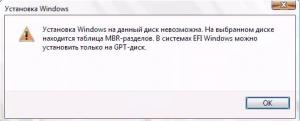 на выбранном диске находится таблица mbr-разделов установка невозможна