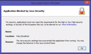 что значит Application blocked by java security