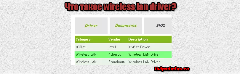 wireless lan driver что это