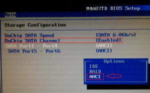 включение режима расширенного хост-контроллера опцией Onchip sata channel и переводом нижних параметров к значению ACHI
