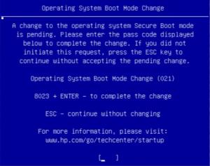 ноутбук HP ошибка 021 Operating system boot mode change