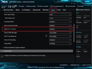 как отключить показ ошибок в Asus UEFI BIOS
