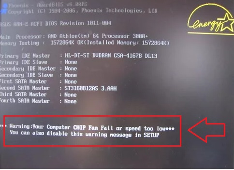 CPU Fan Fail Warning что это