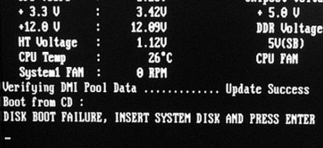 disk boot failure insert system disk and press enter как исправить