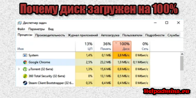 Загружен диск на 100% в windows 10