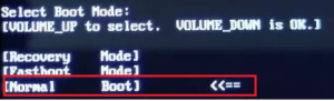 Select boot mode volume up to select volume down is ok что делать