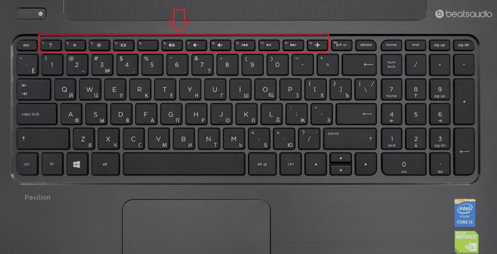 Расположение функциональных кнопок на клавиатуре ноутбука