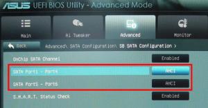 включение режима расширенного хост-контроллера опцией Onchip sata channel и переводом нижних параметров к значению ACHI в UEFI