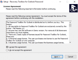 Установка Recovery Toolbox for Outlook Password