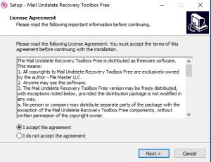 программа Mail Undelete Recovery Toolbox Free для восстановления данных из Windows Mail