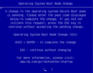 ноутбук HP ошибка 021 Operating system boot mode change